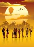 Puesta del sol sobre selva tropical stock de ilustración