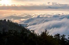 Puesta del sol sobre Smokey Mountains, América imagen de archivo libre de regalías