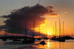 Puesta del sol sobre St, Juan, USVI fotografía de archivo