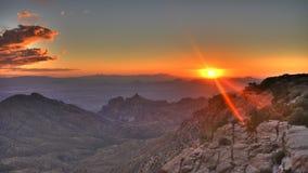 Puesta del sol sobre Tucson Imagen de archivo libre de regalías