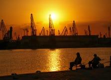 Puesta del sol sobre Varna Imagenes de archivo