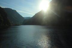 Puesta del sol sobre Veafjorden Imagen de archivo