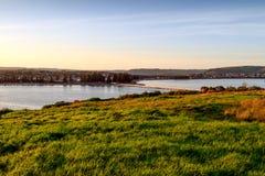 Puesta del sol sobre Victor Harbor Imagen de archivo libre de regalías