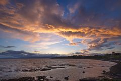 Puesta del sol sobre Victoria, A.C., Canadá Fotografía de archivo