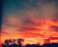 Puesta del sol sola Imagenes de archivo