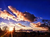 Puesta del sol soleada del otoño Imagen de archivo libre de regalías
