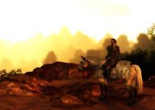 Puesta del sol solitaria de Wolf Warrior On Mountain Looking ilustración del vector