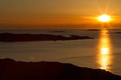 Puesta del sol sueca Imágenes de archivo libres de regalías