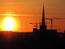 Puesta del sol sueca Imagenes de archivo