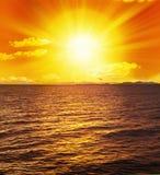 Puesta del sol Sun del océano Fotos de archivo libres de regalías