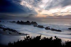 Puesta del sol tempestuosa del cielo Imagen de archivo libre de regalías