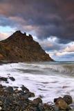 Puesta del sol tempestuosa en el mar Fotografía de archivo libre de regalías