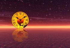 Puesta del sol. Tiempo de la tarde stock de ilustración