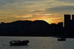 Puesta del sol tranquila Fotos de archivo libres de regalías
