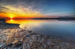 Puesta del sol tranquila del verano del río de Fraser imagenes de archivo