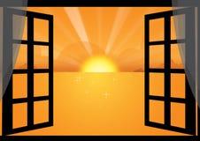 puesta del sol a través de la ventana stock de ilustración