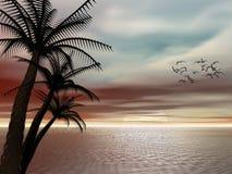 Puesta del sol tropical. ilustración del vector