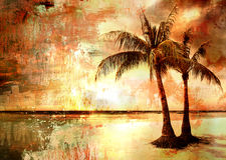 Puesta del sol tropical ilustración del vector