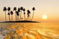 Puesta del sol tropical anaranjada ilustración del vector
