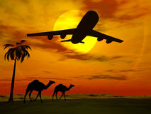 Puesta del sol tropical con el aeroplano. Fotos de archivo