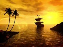 Puesta del sol tropical con una nave ilustración del vector