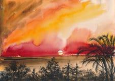 Puesta del sol tropical del centro turístico ilustración del vector