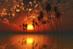 Puesta del sol tropical roja stock de ilustración