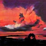 Puesta del sol tropical sobre el mar y el ejemplo de Digitaces del bosque en estilo de la pintura al óleo ilustración del vector