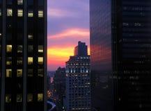 Puesta del sol urbana Foto de archivo libre de regalías