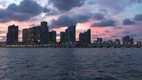 Puesta del sol urbana de Miami la Florida almacen de metraje de vídeo