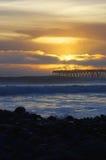 Puesta del sol Ventura Pier Foto de archivo libre de regalías