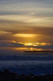 Puesta del sol Ventura Pier Fotografía de archivo