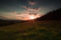Puesta del sol del verano de Buckinghamshire foto de archivo libre de regalías