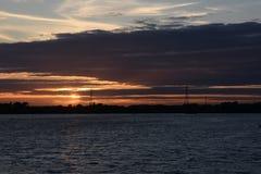 Puesta del sol del verano en Chasewater, Staffordshire Fotografía de archivo libre de regalías