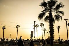 Puesta del sol del verano del melocotón imagenes de archivo