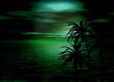 Puesta del sol verde del mar y del cielo del horizonte con los árboles Fotos de archivo