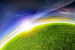 Puesta del sol verde del planeta