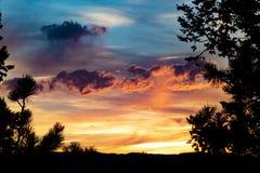 Puesta del sol vibrante de Colorado imagen de archivo