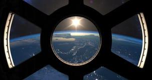 Puesta del sol vista del ISS ilustración del vector