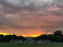 Puesta del sol del Washington DC Imágenes de archivo libres de regalías