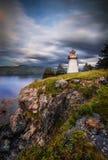 Puesta del sol, Woody Point, Gros Morne National Park, Terranova y L Foto de archivo