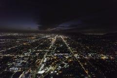 Puesta del sol y antena de la noche de Hollywood Blvds Los Ángeles Fotografía de archivo