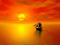 Puesta del sol y barco Foto de archivo libre de regalías