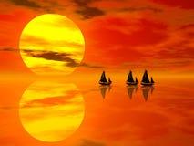 Puesta del sol y barco stock de ilustración