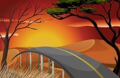 Puesta del sol y camino ilustración del vector