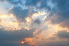 Puesta del sol y cielo Imagen de archivo