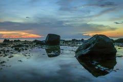 Puesta del sol y cielo Foto de archivo libre de regalías