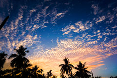 Puesta del sol y cielo azul imágenes de archivo libres de regalías