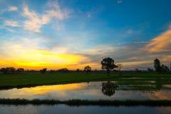 Puesta del sol y cielo de la nube Fotos de archivo