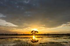 Puesta del sol y cielo de la nube Foto de archivo libre de regalías